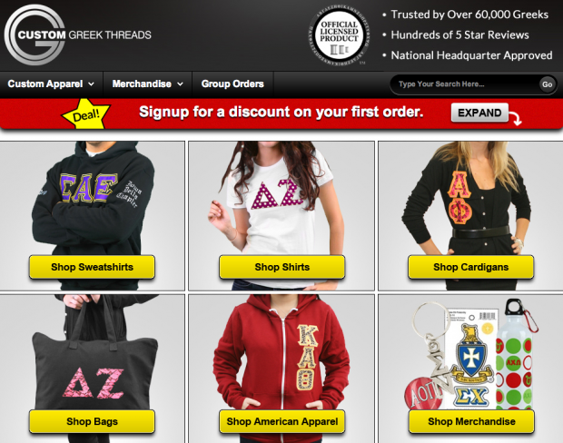 Custom Greek Threads clearly displays user choices.