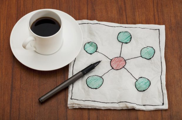 iStock — Coffee Cup with Sketch of Network