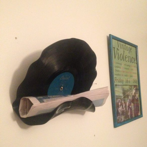 upcycled vinyl shelf