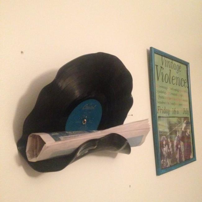 upcycled vinyl shelf