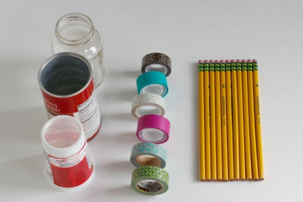 Washi Tape Pencil Jar Supplies @makeandtakes