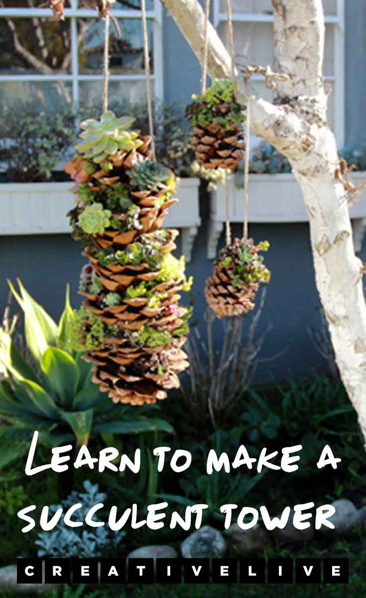 Learn how to make a succulent tower with step-by-step instructions on the CreativeLive blog.