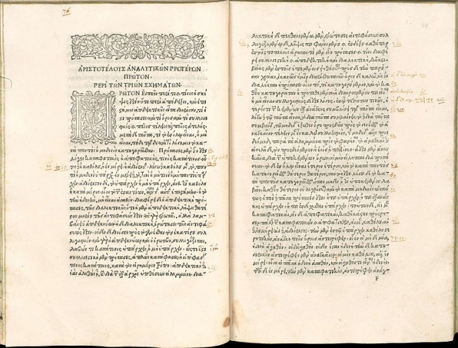 "Page-spread from the Aristoteles ""Opera"" printed by Aldus Manutius about 1495—1498. Copy of the Bayerische Staatsbibliothek."