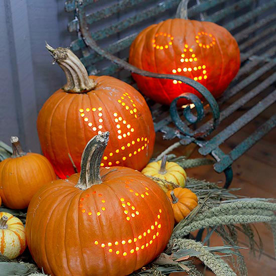 Jack-O-Lanterns carved by a power drill! Get more inspiring ideas on the CreativeLive blog: http://blog.creativelive.com/pumpkins-and-power-drills-10-inspiring-ideas-for-your-jack-o-lanterns/