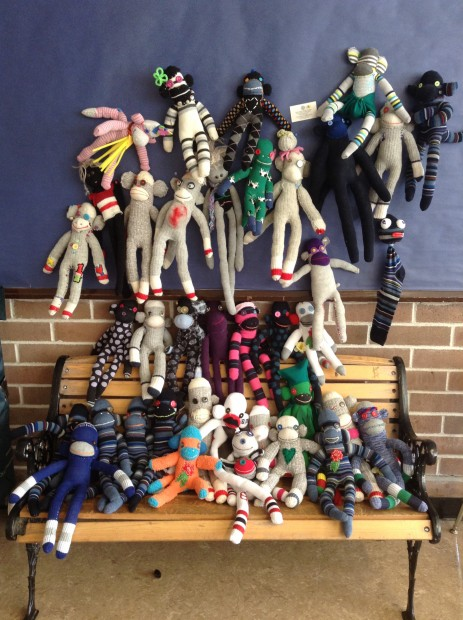 Crafting for change: http://blog.creativelive.com/kat-thorsen-and-the-surprising-power-of-sock-monkeys