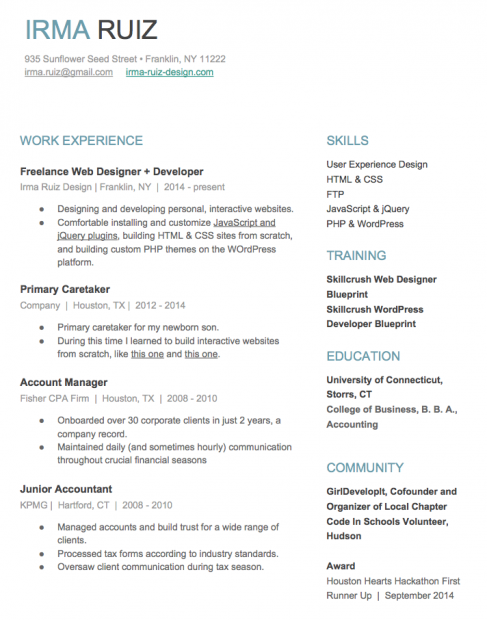Irma New Resume  Resume Design Tips