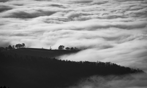 black and white image of rolling fog