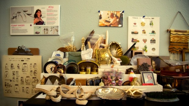 A collection of display supplies at Foamy Wader