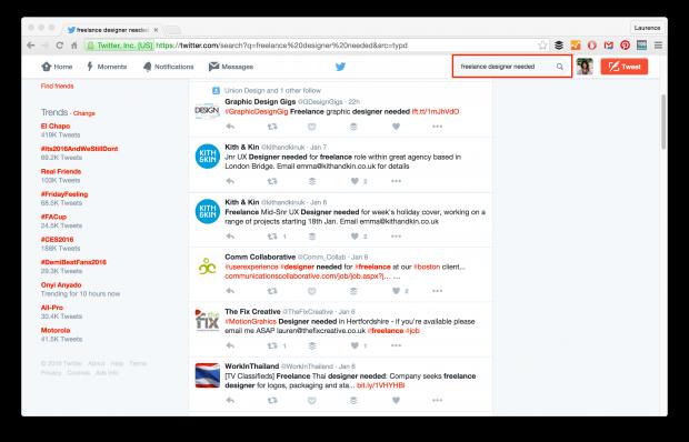 find jobs on twitter