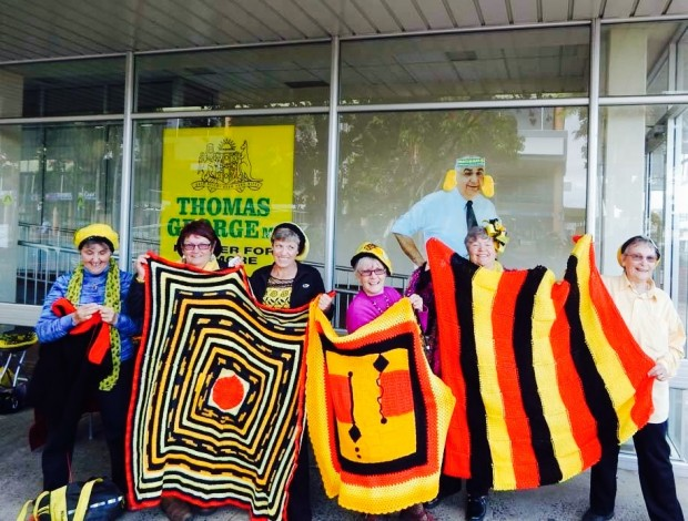 The Knitting Nannas knit, educate, and protest the environmental destruction. The group crafts a better future for their grandchildren.