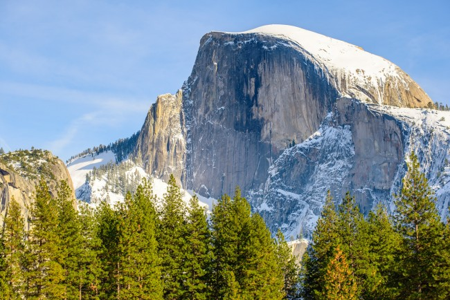 Compression of half dome using a telephoto lens