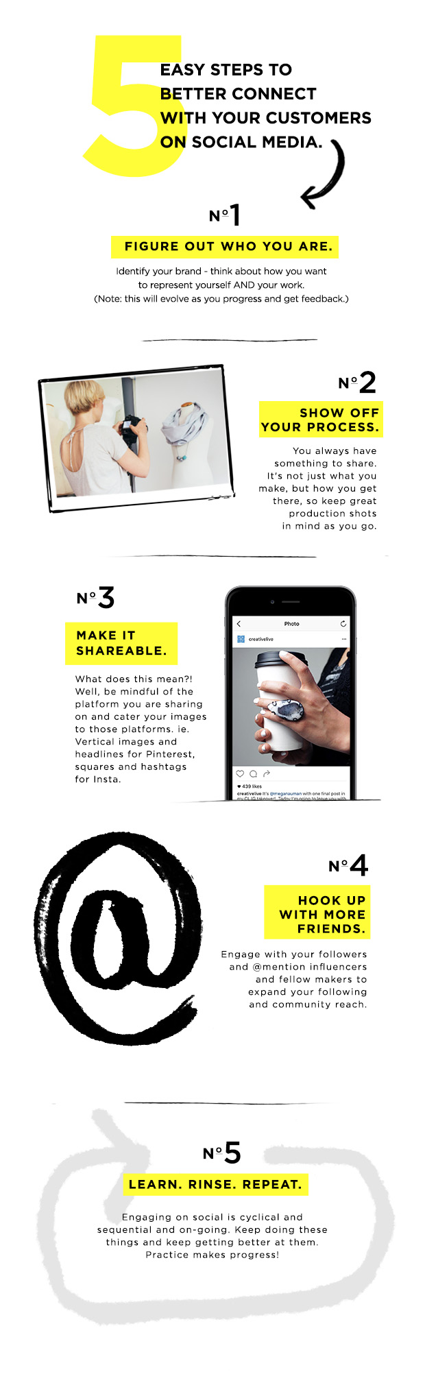 Learn how to get more followers using the 5 steps outlined in this infographic from CreativeLive.