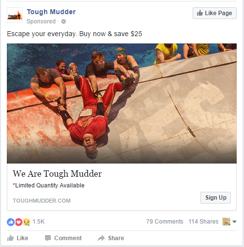 How to Increase Facebook Marketing Conversion Rates with Thematically Matched Images Tough Mudder Facebook Ad