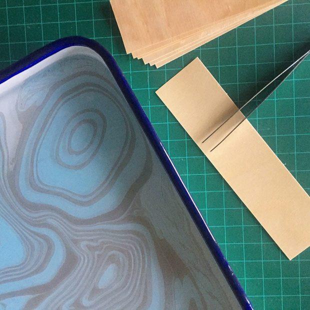 DIY Napkin Rings: Wood Veneer and Marbled Ink - CreativeLive Blog