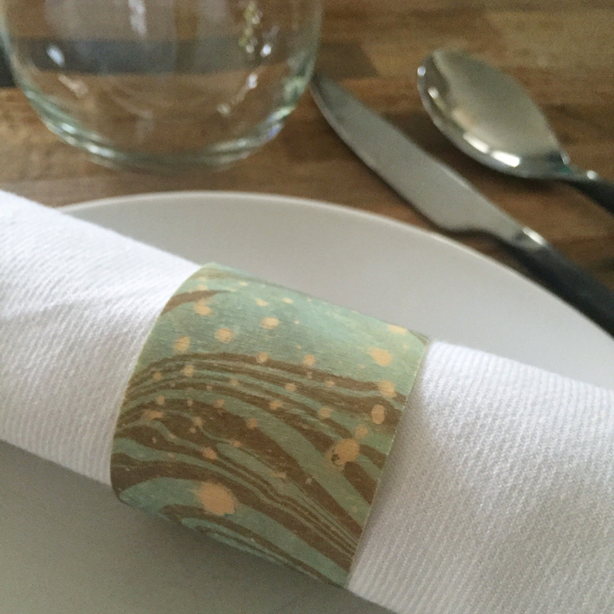 Diy napkin rings wood veneer and marbled ink for Thin wood sheets for crafts