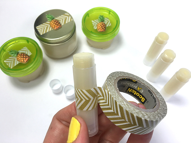 Add a little pizzazz to your DIY lip balm with washi tape and stickers.