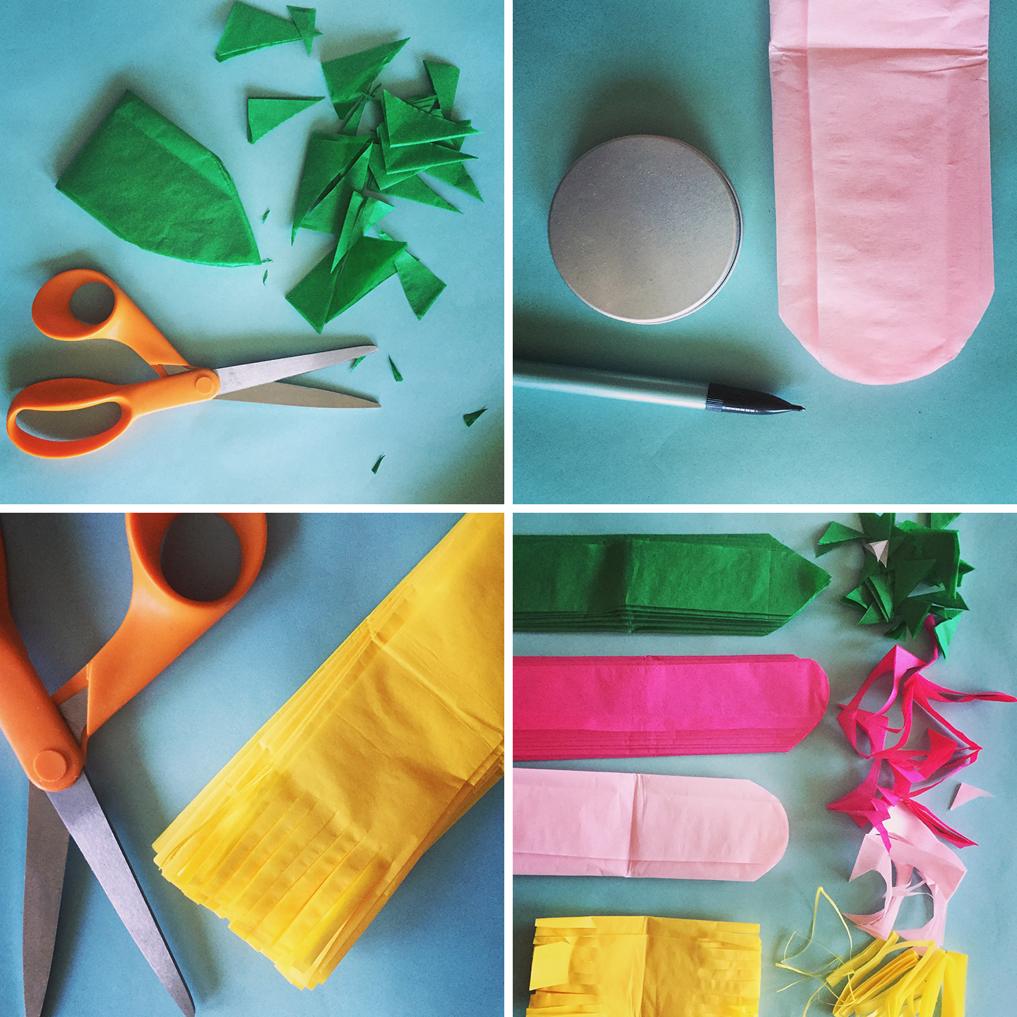 How to make a tissue paper flower a dazzling tutorial layer the tissue paper sheets back on top of one another in the same order as before leaves on bottom outer petals inner petals stamen on top mightylinksfo Choice Image
