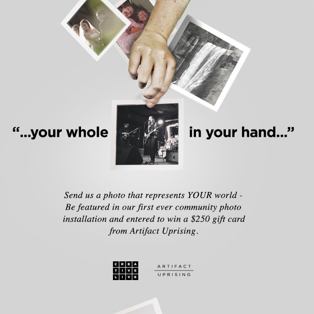 Be featured in our first ever community photo installation and entered to win a $250 gift card from Artifact Uprising.
