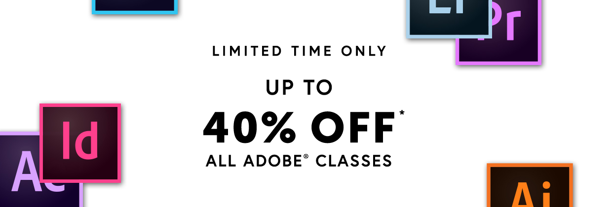 Access classes on Adobe Photoshop, Lightroom, Illustrator and more!