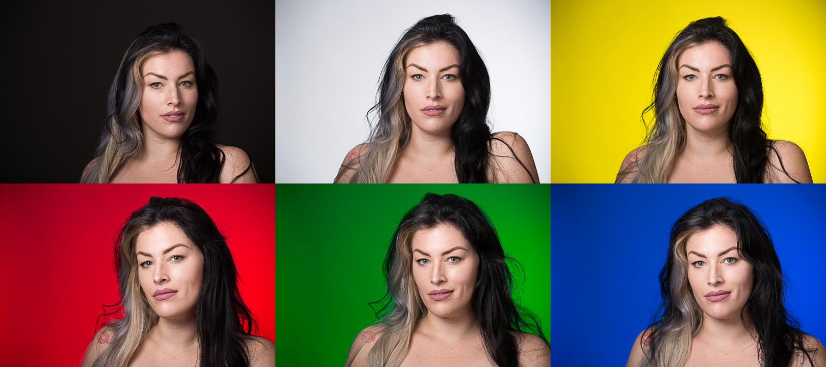 The background is the same in all of these images (the dark gray in the upper left), but by adding light and color gels we can create different backgrounds by John Cornicello.