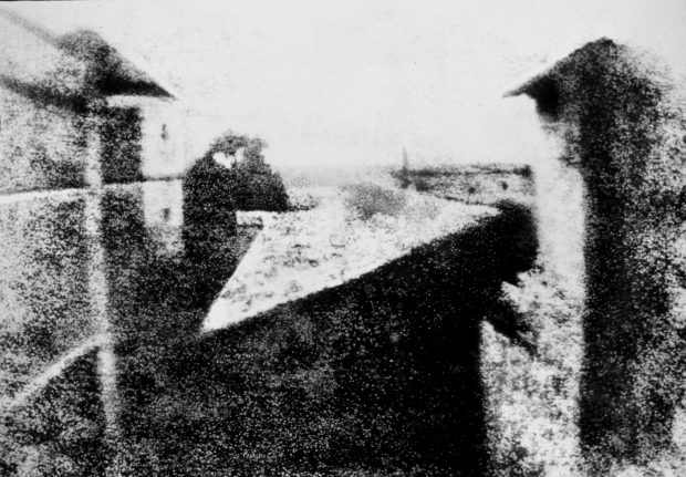 Enhanced version of Joseph Nicéphore Niépce's View from the Window at Le Gras