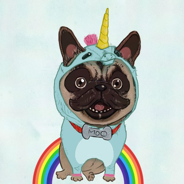 Rainbow dog illustration